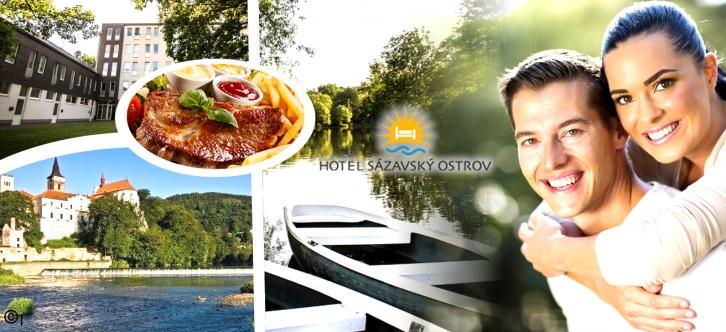 Aktivní dovolená v Hotelu Sázavský ostrov pro 2 osoby na 3 nebo 4 dny. Polopenze, sportovní vyžití, kulturní zážitky a romantika. Vyberte si z více balíčků dle vlastních představ a užijte si fantastickou dovolenou na Sázavě.